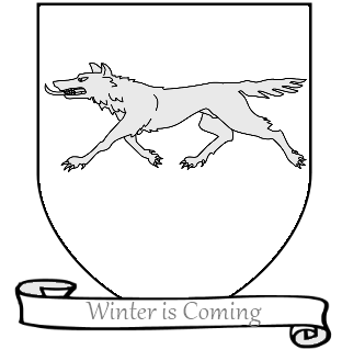 A_Song_of_Ice_and_Fire_arms_of_House_Stark_running_direwolf_white_scroll