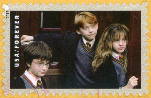 Harry, Hermione, and Ron Postage Stamp